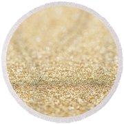 Beautiful Champagne Gold Glitter Sparkles Round Beach Towel