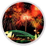 Beautiful Colorful Holiday Fireworks 2 Round Beach Towel