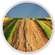 Beautiful Colors Along A Saskatchewan Country Road Round Beach Towel