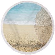 Beautiful Coral Element 1 Round Beach Towel