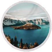 Beautiful Crater Lake Round Beach Towel