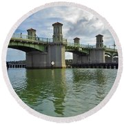 Beautiful Day At The Bridge Of Lions Round Beach Towel