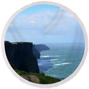 Beautiful Day At The Cliff's Of Moher In Ireland Round Beach Towel