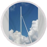 Beautiful Day At The Marina - Mast And Clouds - Color Round Beach Towel