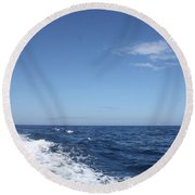Beautiful Day On The Atlantic Ocean Round Beach Towel