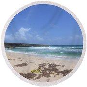 Beautiful Deserted Boca Keto Beach In Aruba Round Beach Towel