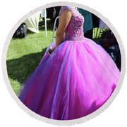 Beautiful Dress Make Up Dad Of Dead  Round Beach Towel