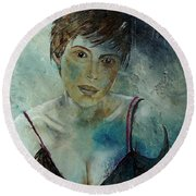 Beautiful Face Round Beach Towel