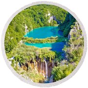 Beautiful Falling Lakes Of Plitvice National Park Round Beach Towel