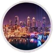 Beautiful Famous Downtown Area In Dubai At Night, Dubai, United Arab Emirates Round Beach Towel