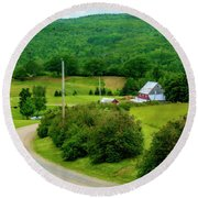 Beautiful Farm In Windsor Forks Round Beach Towel