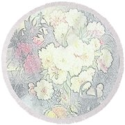 Beautiful Flower Sketch  Round Beach Towel