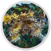 Beautiful Flowers In A Group Round Beach Towel