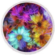 Beautiful Flowers Round Beach Towel