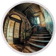Beautiful Forgotten Staircase Round Beach Towel