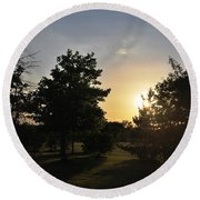 Beautiful Greenery Park In The Afternoon  Round Beach Towel
