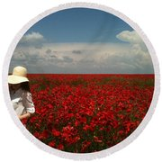 Beautiful Lady And Red Poppies Round Beach Towel