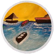 Beautiful Lake Round Beach Towel