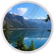 Beautiful Lake Minnewanka Round Beach Towel