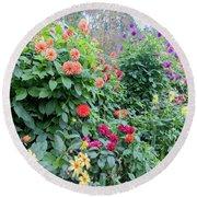 Beautiful Lot Of Dahlias,butchart Gardens,victoria,canada Round Beach Towel
