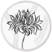 Beautiful Lotus... Black-white Mood Round Beach Towel