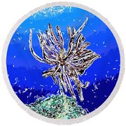 Beautiful Marine Plants 1 Round Beach Towel by Lanjee Chee