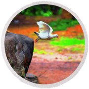 Beautiful Moment With A Bird Take Off , Wall Frame, Art Round Beach Towel