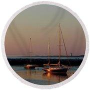 Beautiful Morning Provincetown Pier Round Beach Towel