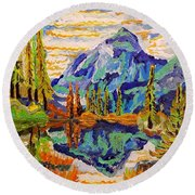 Beautiful Mountainous Reflection  Round Beach Towel