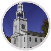 Beautiful Old First Church Round Beach Towel