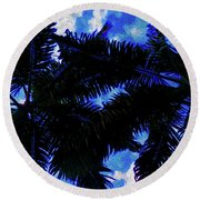 Beautiful Palm In Blue Sky Round Beach Towel