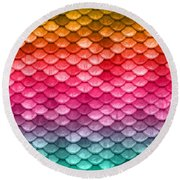 Beautiful Pastel Diagonal Rainbow Spectrum II Mermaid Fish Scales Round Beach Towel