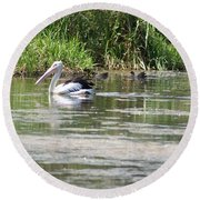 Beautiful Pelican Round Beach Towel