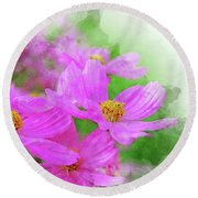 Beautiful Pink Flower Blooming For Background. Round Beach Towel
