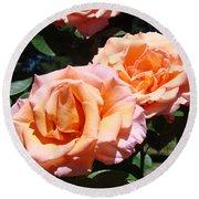 Beautiful Pink Orange Rose Flowers Garden Baslee Troutman  Round Beach Towel