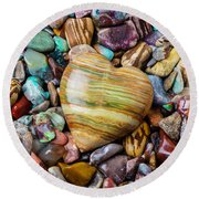 Beautiful Polished Colorful Stones Round Beach Towel