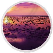 Beautiful Purple Sunset During Tide Shows Up Rocky Beach Round Beach Towel