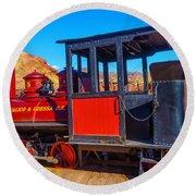 Beautiful Red Calico Train Round Beach Towel