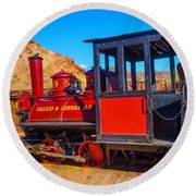 Beautiful Red Calico Train Round Beach Towel