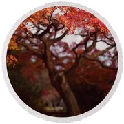 Beautiful Red Japanese Maple Tree In A Garden Round Beach Towel
