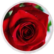 Beautiful Red Rose Abstract 3 Round Beach Towel