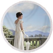 Beautiful Regency Woman Admiring The View From The Terrace Round Beach Towel