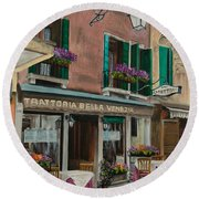 Beautiful Restaurant In Venice Round Beach Towel by Charlotte Blanchard