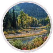 Beautiful River Bottom In Vivid Autumn Colors Round Beach Towel