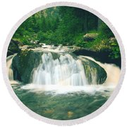 Beautiful River Flowing In Mountain Forest Round Beach Towel