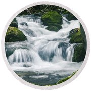 Beautiful River In Forest Round Beach Towel