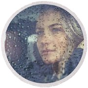 Beautiful Sad Woman In The Car Round Beach Towel