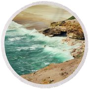 Beautiful Shore Of Nazare, Portugal Round Beach Towel