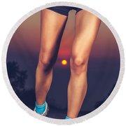 Beautiful Sportive Womens Legs Round Beach Towel