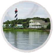 Beautiful St Augustine Lighthouse Waterfront Round Beach Towel